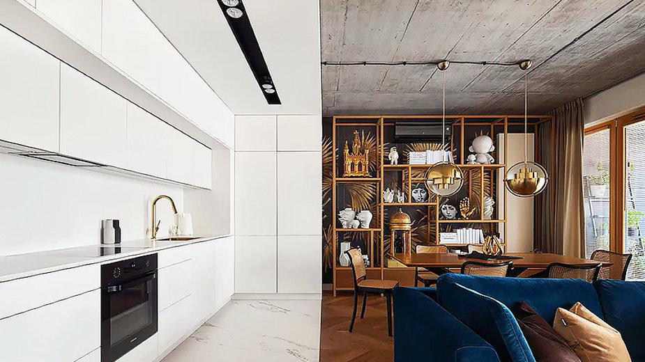 Apartament Geometry od BLACKAUS i wyraźnie wydzielone strefy
