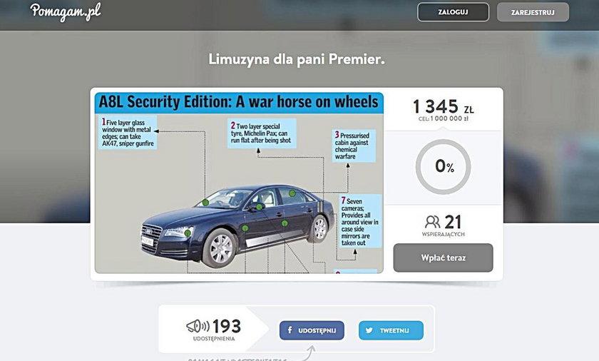 Zbiórka na nowe auto dla Beaty Szydło