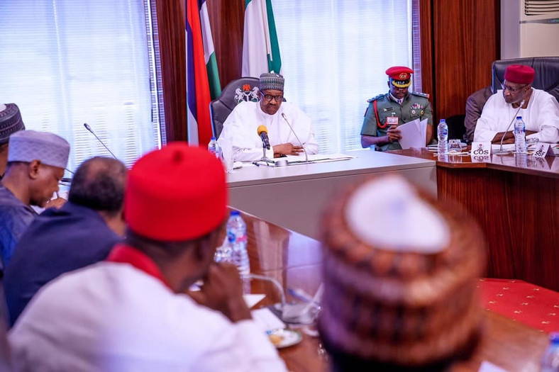 Buhari addressing the Presidential Economic Advisory Council (PEAC) at the State House, Abuja on Wednesday, October 9, 2019 [Presidency]