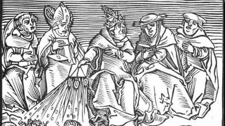 """Polityka papieska, rycina luterańskiego artysty XVI-wiecznego Lucasa Cranacha starszego z serii """"Antichristus"""" - domena publiczna"""