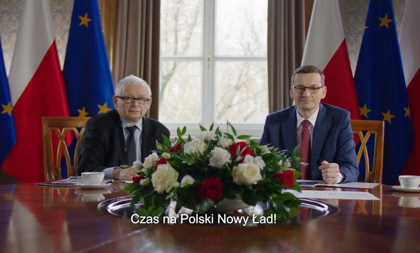 """Wicepremier Jarosław Kaczyński i szef rządu Mateusz Morawiecki w spocie reklamującym """"Nowy ład"""""""