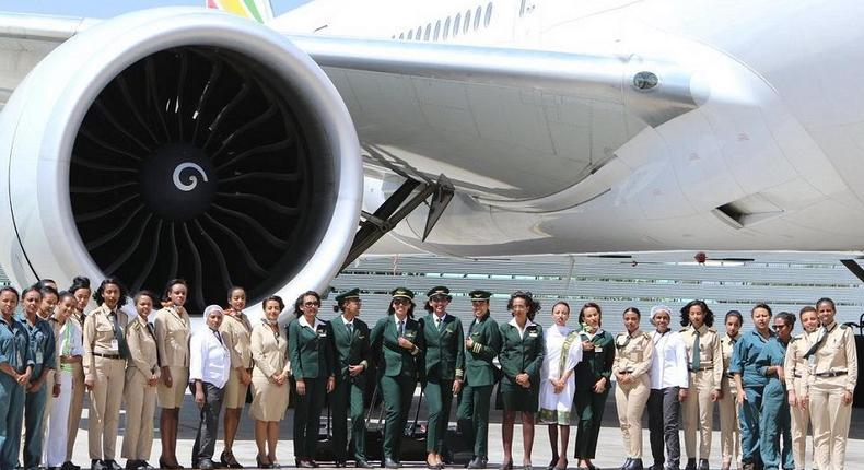 Ethiopian Airlines celebrates International Women's Day in grand style with a cabin crew and operations made up entirely of women