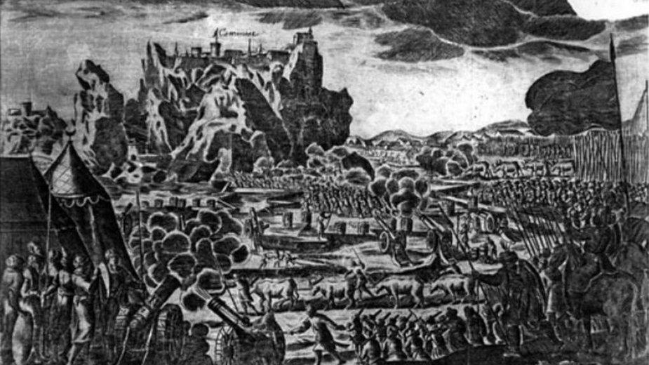 Anonimowy miedzioryt przedstawiający oblężenie Kamieńca z około 1672 r. – fot. domena publiczna, Muzeum Pałacu Króla Jana III w Wilanowie