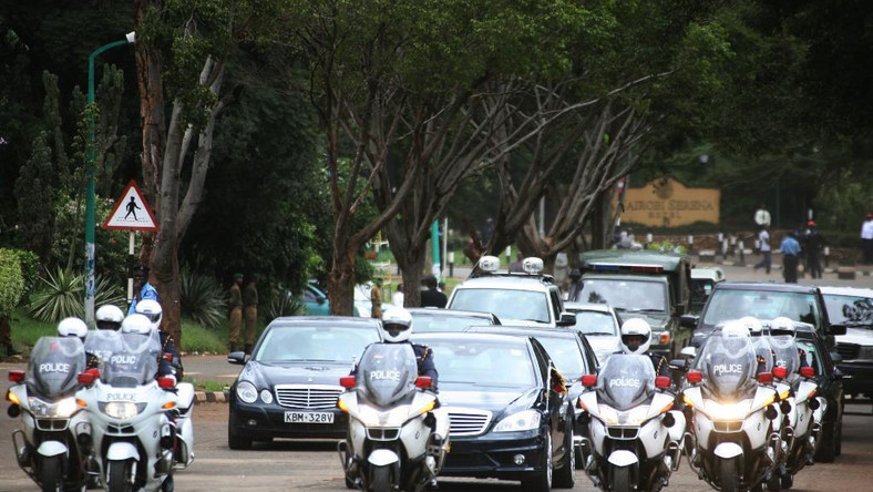 File image of President Uhuru Kenyatta's motorcade. Interior PS Karanja Kibicho has ordered all State agencies to buy only locally assembled motor vehicles
