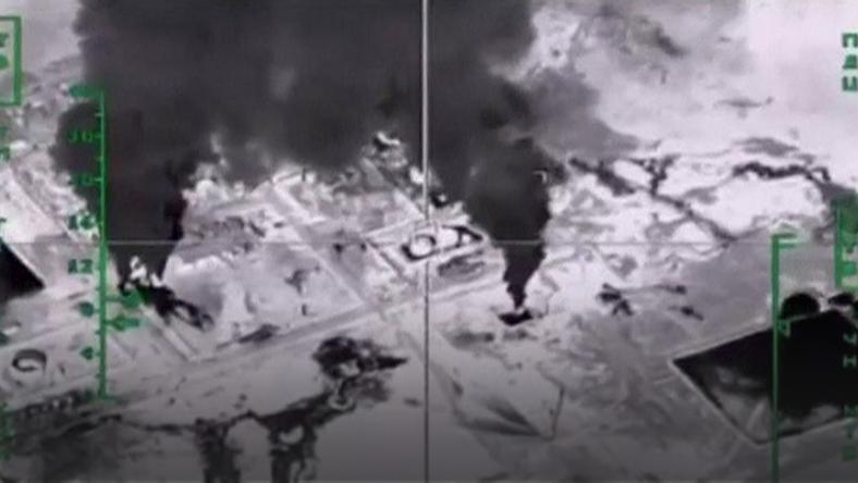 A frame grab shows air strikes carried out by Russia's air force at an unknown location in Syria