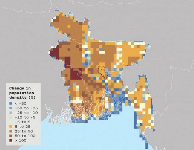 Promene u gustini naseljenosti: Bangladeš