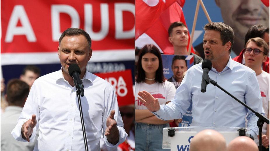 Andrzej Duda i Rafał Trzaskowski podczas wieców wyborczych - PAP