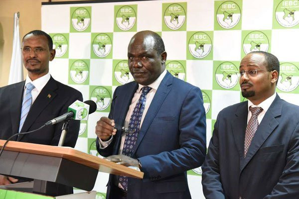 IEBC Chairman Wafula Chebukati and Commissioners Boya Molu and Abdi Guliye