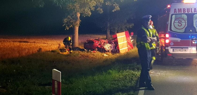 Wypadek w Zachodniopomorskiem. Auto uderzyło w drzewo. Zginęły 2 osoby