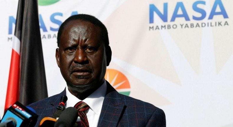 Raila Odinga addressing the press today