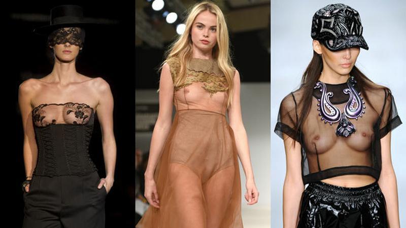 Modelki w prześwitujących kreacjach