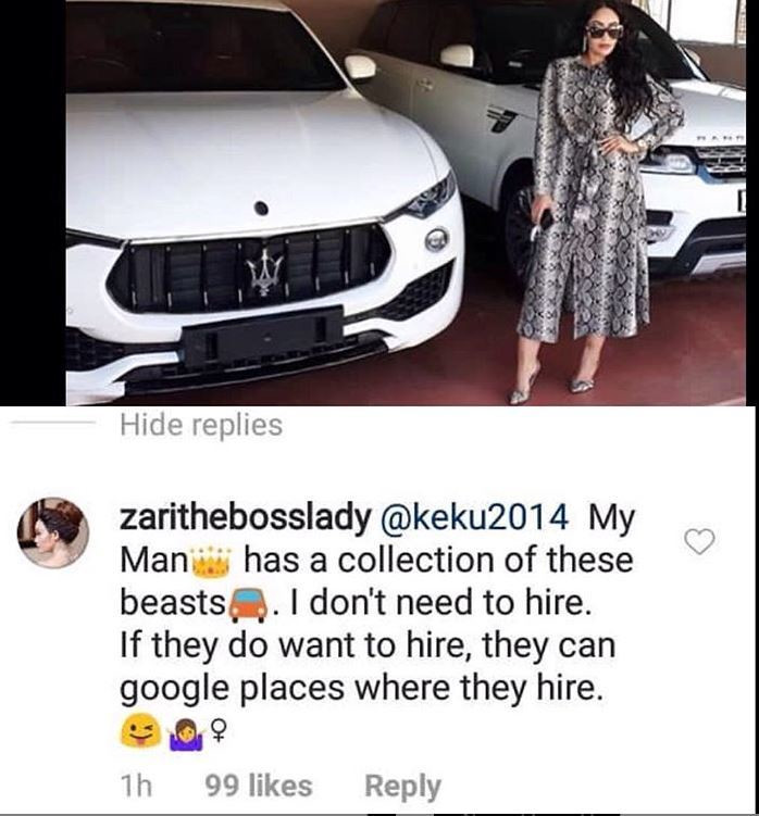 Zari Hassan responds to claims she hires posh cars to make her new boyfriend look rich