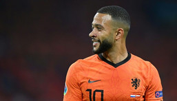 Memphis Depay's penalty set the Netherlands on the way to their 2-0 win over Austria Creator: JOHN THYS
