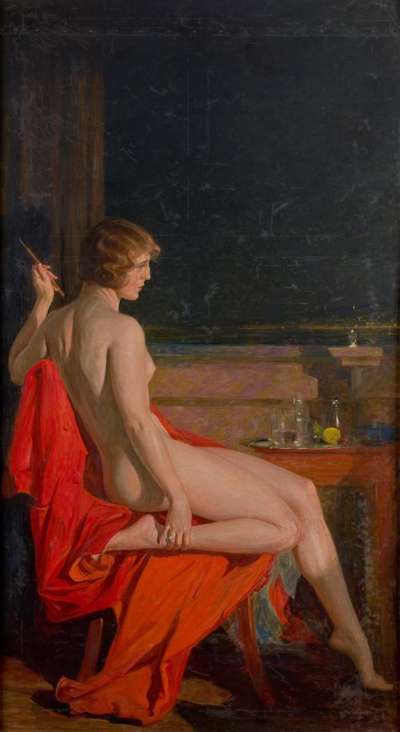 Paja Jovanović, Akt na crvenom ogrtaču, 1918-1920, Muzej grada Beograda