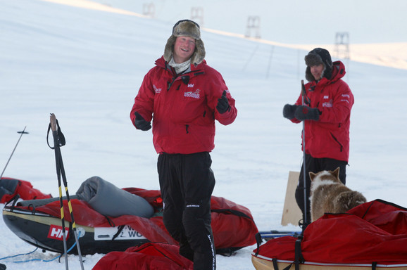 Solhejm s princom Harijem tokom ekspedicije 2013.