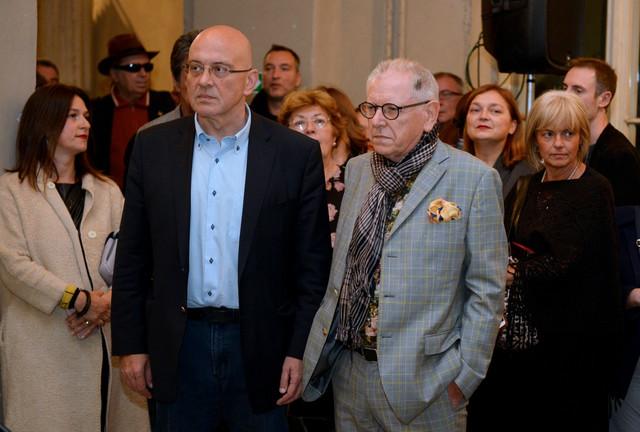 Ministar kulture Vladan Vukosavljević i selektor ovogodišnjeg Oktobarskog salona Dejvid Eliot
