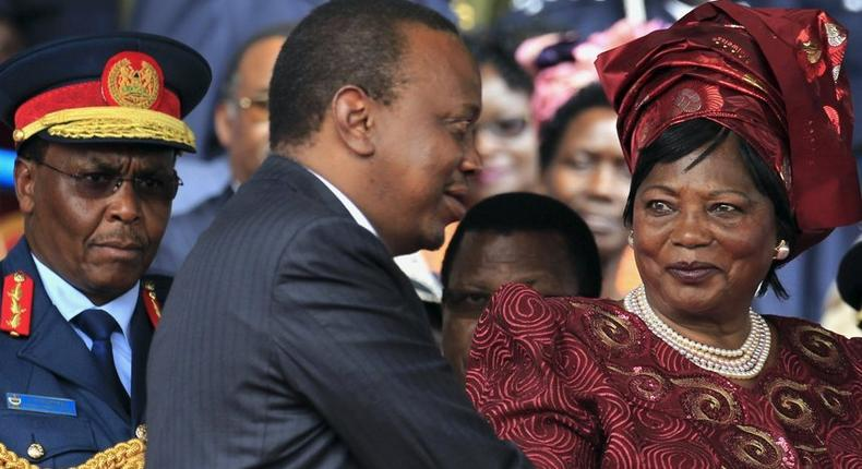 President Uhuru Kenyatta with his mother Mama Ngina. The family is one of the most well-connected in Kenyatta