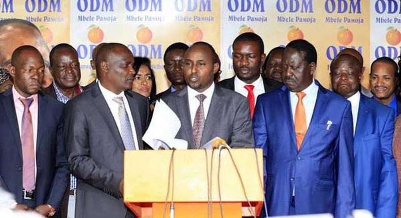 File image of ODM leaders together with party leader Raila Odinga addressing the press