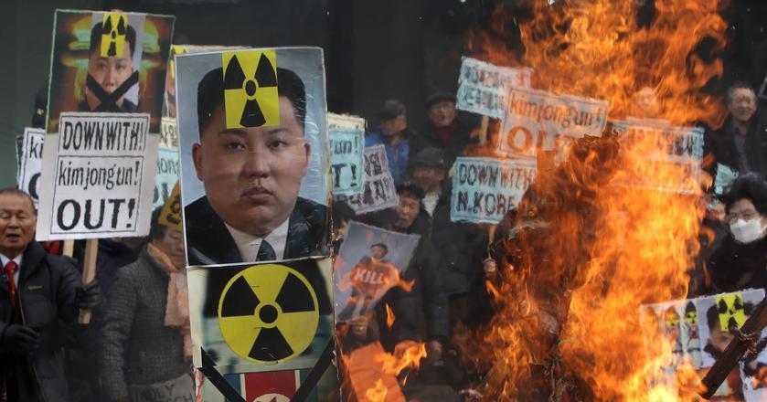 Protest mieszkańców Korei Południowej przeciwko testom nuklearnym prowadzonym przez Koreę Północną