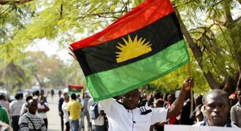 IPOB members flying a Biafran flag (Sahara Reporters)