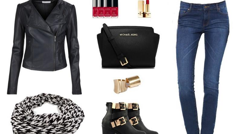 Klasyczny odcień jeansu w zestawieniu z czernią, złotem i czerwienią to idealna propozycja na spacer, spotkanie z przyjaciółkami, do kina czy szkoły. Niewymagająca, wygodna, ale z nutką elegancji - dzięki złotym dodatkom - sprawi, że będziecie czuły się pewnie i wygodnie.