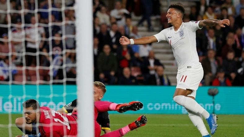 Teenage dreams: Jadon Sancho, 19, scored his first two England goals against Kosovo