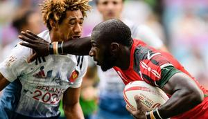 Kenyan rugby player Dennis Ombachi in action