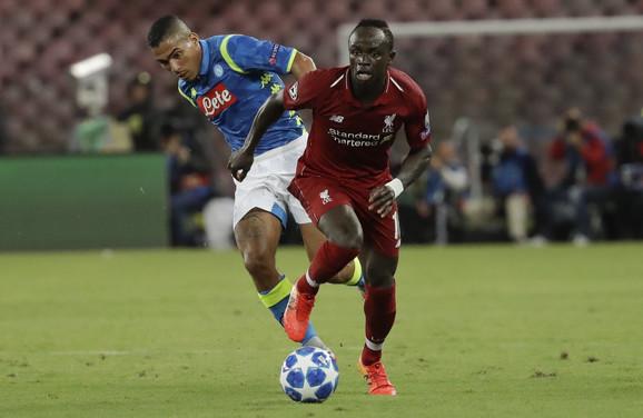 Sadio Mane na prethodnom duelu Lige šampiona protiv Napolija