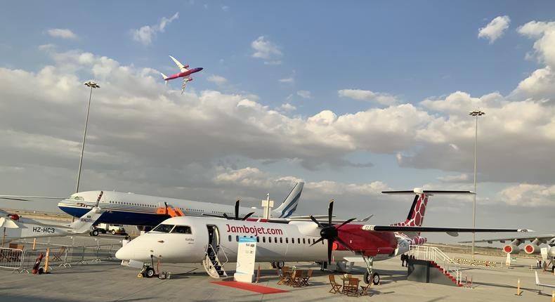 Jambojet's De Havilland Dash 8-400, showcased at Dubai Airshow, 2019. (courtesy)