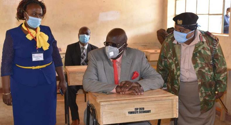 Education CS George Magoha during a past visit to a secondary school