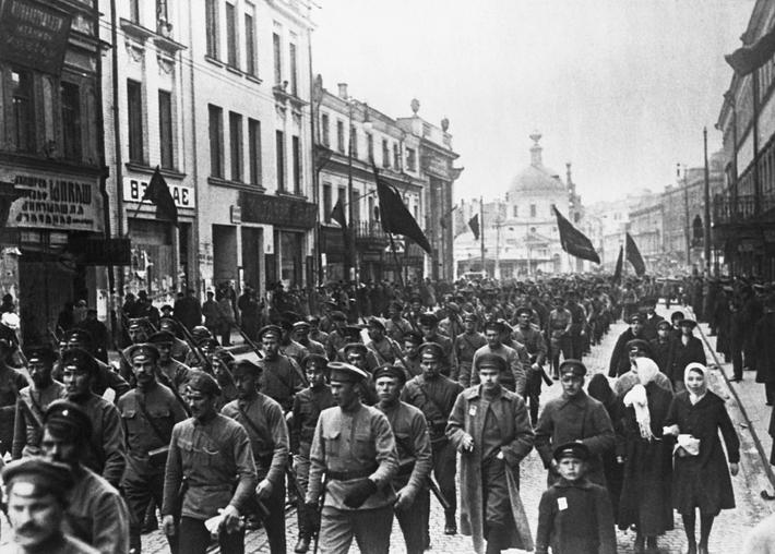 Red Guards Marching Through Moscow, 1917