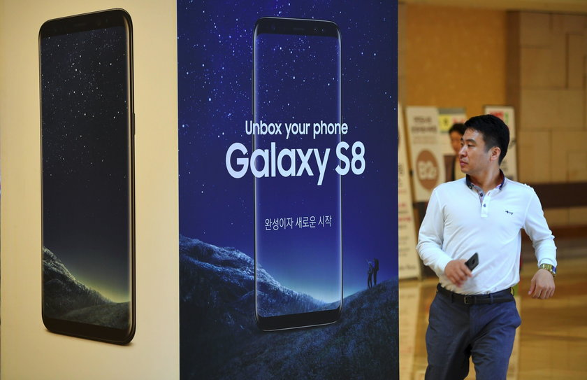 A Samsung Electronics's Galaxy S8 is displayed at its office building in Seoul