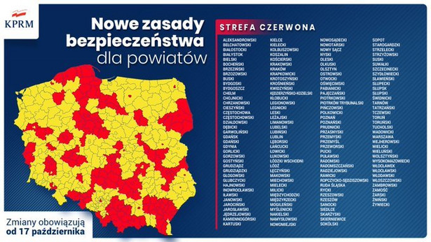 Strefa czerwona - nowa mapa powiatów