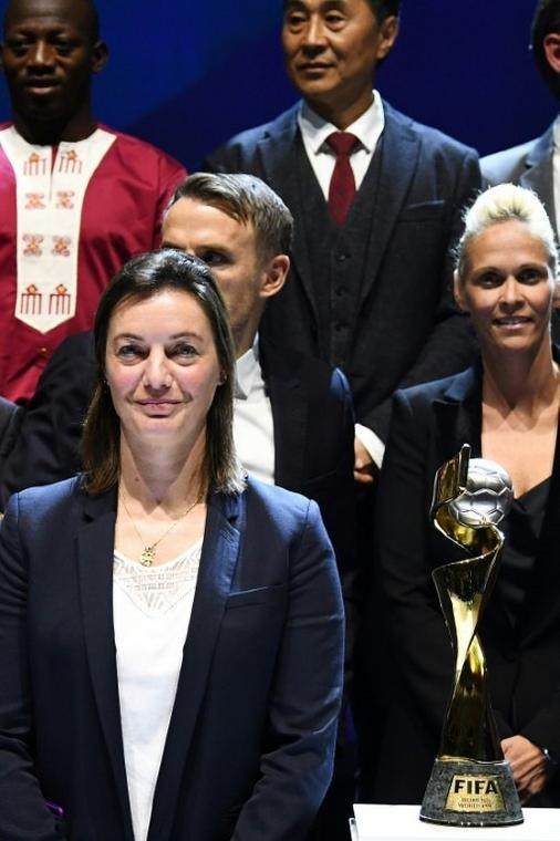 France's Corinne Diacre in front of some of her fellow coaches at Saturday's draw for the 2019 women's World Cup