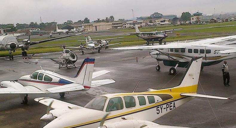 Plane landing at an airstrip 1
