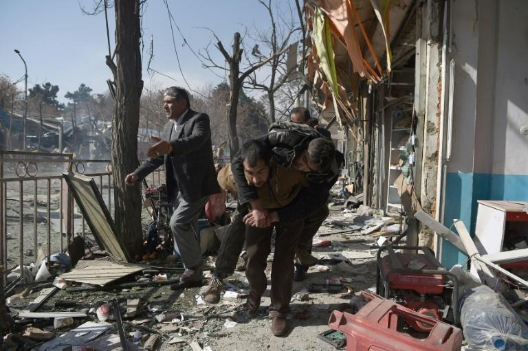 The scene of a car bomb attack in Kabul on January 27, 2018, which was claimed by the Taliban