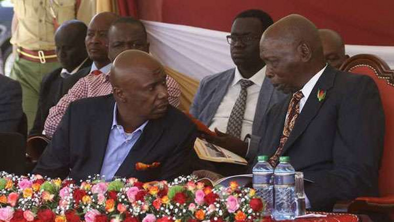 File image of retired President Daniel Moi who is currently admitted to hospital with Gideon Moi