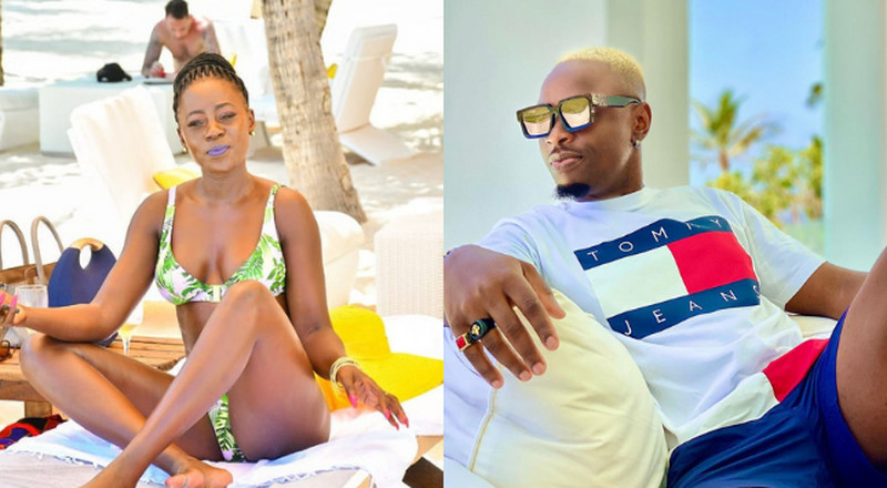 Akothee raises eyebrows as she gets cozy with Ommy Dimpoz in swimming Pool (Video)
