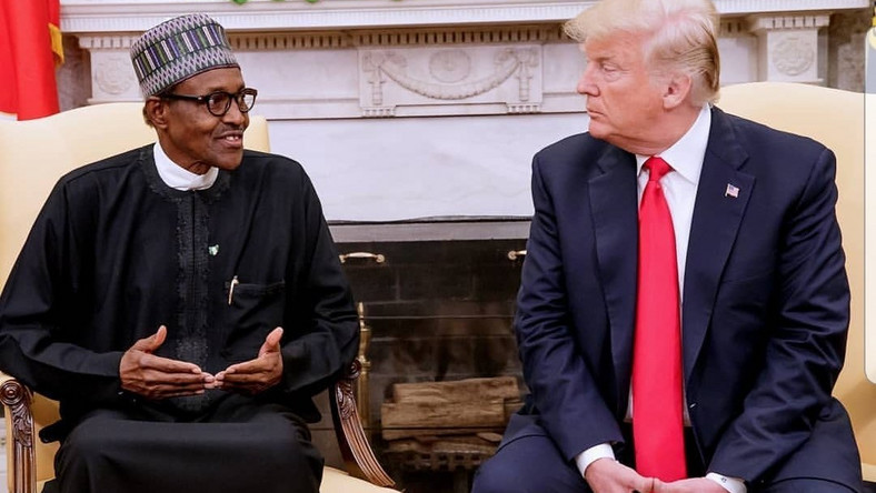 Nigeria's President Muhammadu Buhari and United States' President Donald Trump met at the White House in April 2018 to strengthen ties, but the US president has now slammed the door in the face of Nigerians seeking permanent residency in the North African country [White House Media]