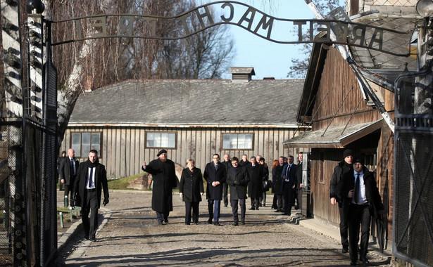 Kanclerz Niemiec Angela Merkel i premier Mateusz Morawiecki podczas uroczystości 75. rocznicy wyzwolenia niemieckiego obozu Auschwitz