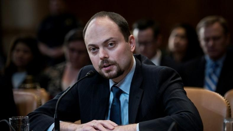 Russian activist Vladimir Kara-Murza speaks during a hearing of the US Senate on March 29, 2017
