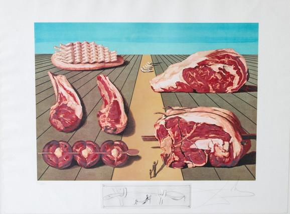 """Ova litografija-gravura iz 1977. godine nosi naziv """"Les Diners de Gala"""" i jedno je od dela Salvadora Dalija koje će biti predstavljna u Beogradu. Dali (1904-1989), jedan je od najznačajnijih svetskih umetnika XX veka, a često ga nazivaju i velikim majstorom nadrealizma. Uobičajena tematika njegovih dela je svet prostora, groznice, pijanstva, religije takođe..."""