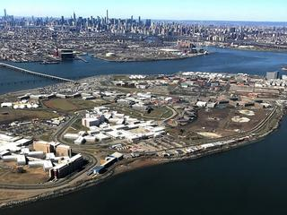 The Rikers Island Prison complex is seen from an airplane in the Queens borough of New York City, Ne
