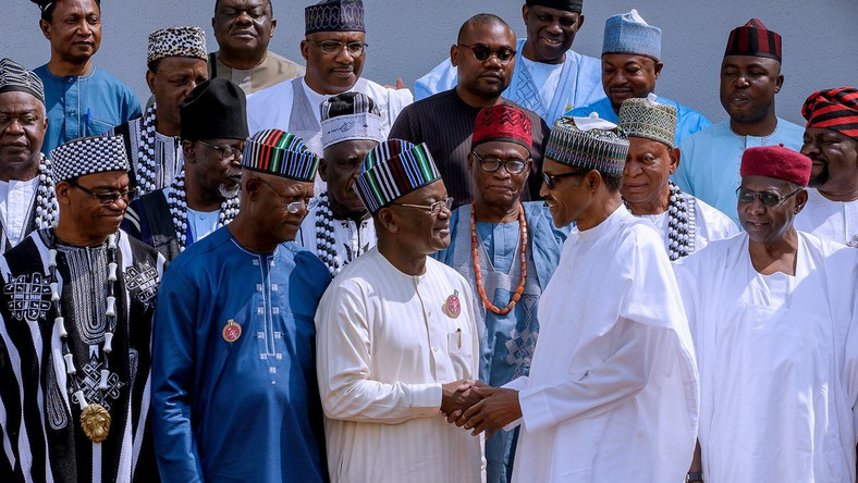 President Muhammadu Buhari hosted Benue State governor, Samuel Ortom, and other political, traditional and opinion leaders from the state at the Presidential Villa on Monday, January 15, 2018
