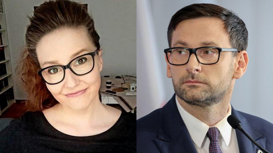 Dziennikarka Justyna Przybytek-Pawlik (fot. Dziennik Zachodni) i prezes PKN Orlen Daniel Obajtek