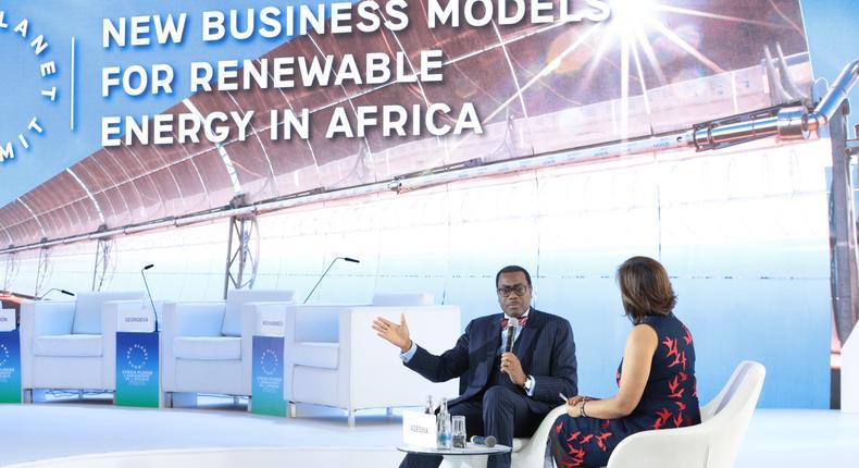 Akinwumi Adesina, AfDB president speaking at the One Planet Summit in Nairobi.