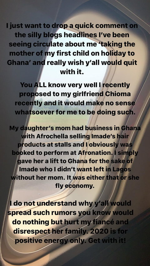 Davido says he only allowed his baby mama, Sophia Momodu to join him in his plane to Ghana for the sakes of his daughter, Imade.Davido has come out to clear the air about the rumoured fling with his baby mama, Sophie Momodu. [Instagram/DavidoOfficial]