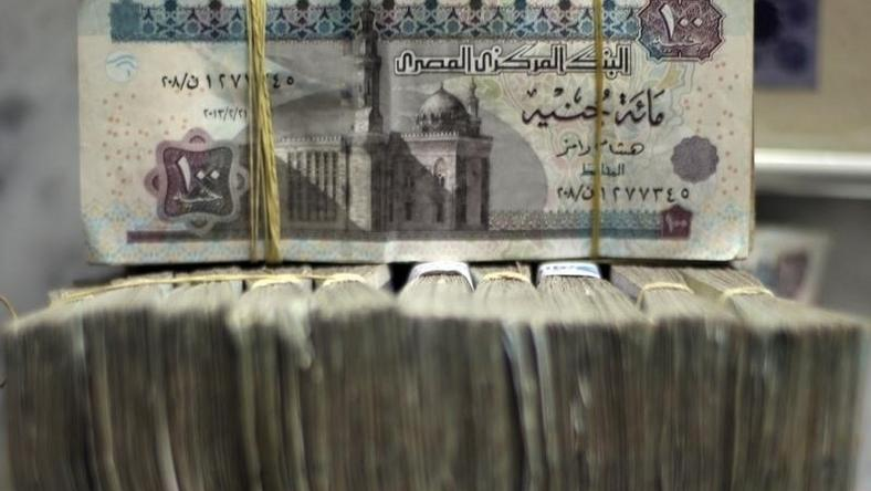 Egypt's pound notes are pictured in stacks of 100 as employees count money at an exchange office in downtown Cairo in a file photo. REUTERS/Amr Abdallah Dalsh