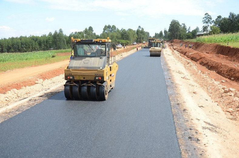 An ongoing road construction in Kenya