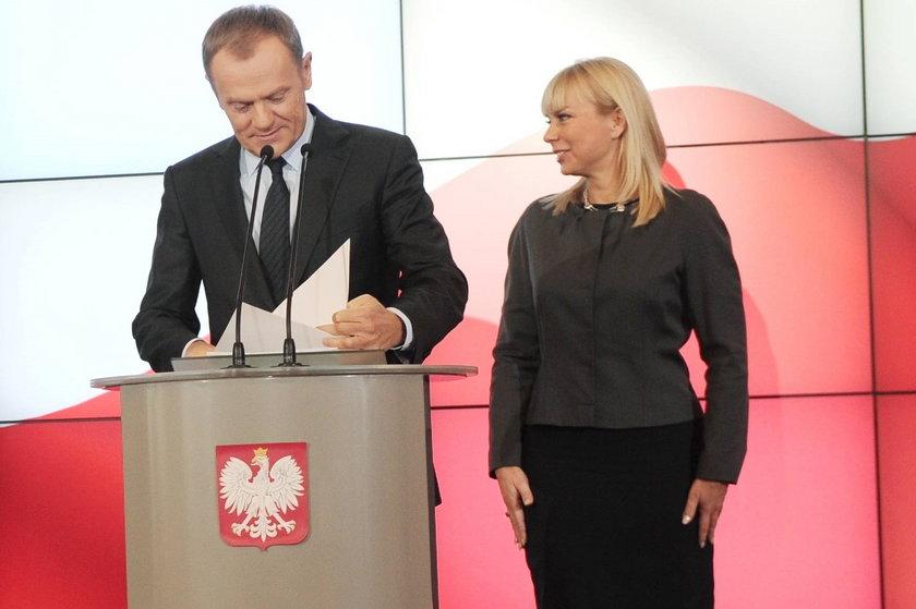Donald Tusk, premier i prezes PO z wicepremier Elżbieta Bieńkowska